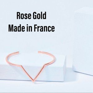 🇫🇷18K Heavy Rose Gold Vee Cuff Made in France
